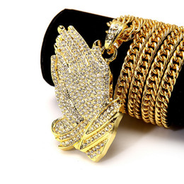 gold hand chain for women Coupons - Hip Hop Fashion Jewelry Gift Prayer Rhinestone Chain Silver Gold Plated Praying Hands Hiphop Bling Pendant Necklace For Women and Men