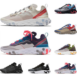 2019 luces solares para camping nike react Hot react element 55 87 zapatillas deportivas para hombre mujer Light Beige Solar Red Light Bone Royal Red zapatillas deportivas tamaño 36-45 luces solares para camping baratos