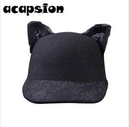 cappello di lana dell'orecchio del gatto nero Sconti Lana Baseball Caps Donne orecchie sveglie Lace Black Cat di lana equestre Cap Rider protezione della visiera del cappello di Snapback Gorra Casquette donna