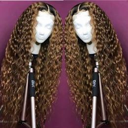 Parrucca in pizzo colore 27 1b online-# 1b 27 Parrucche per capelli umani in pizzo pieno di colore Ombre 150 Parrucche frontali in pizzo riccio densità Acconciature per capelli biondi pieno di pizzo