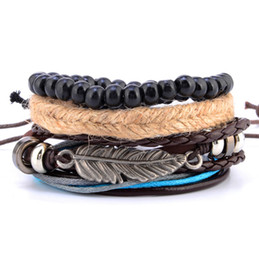 2019 artisanat en cuir à la main Corde de chanvre perles tribales ethniques bracelet en cuir multi-set en cuir artisanat en cuir perles en bois tissé bracelet perlé