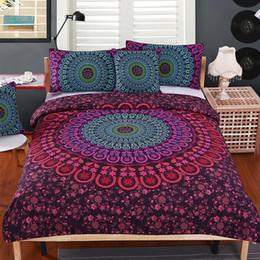 cubiertas textiles Rebajas Juego de ropa de cama Mandala Queen Ropa de cama suave Sencilla Estampado de edredón con estampado de bohemio con fundas de almohada 3pcs Juego de cama Textiles para el hogar King Size