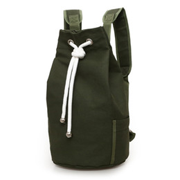 Рюкзак большой рюкзак онлайн-Drawstring Travel Fashion Canvas Storage Solid Outdoor Bag Men Backpack Casual Hike Daypack Gym Camping Large Capacity