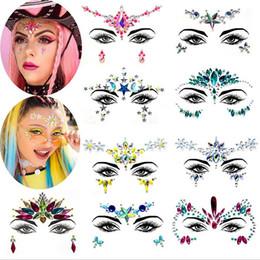 DHL FREESHIPPING Respetuoso con el medio ambiente resina sirena cara rhinestone pegatinas carnaval cristal tatuaje pegatinas DIY diamante maquillaje desde fabricantes