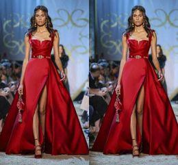 cappello rosso piuma Sconti Elie Saab Couture Abiti da sera rossi Spaghetti A Line Side Split Prom Dress Abiti da festa formale Abiti per occasioni speciali