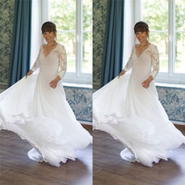 aline dresses long sleeves Promo Codes - 2019 Simple V-neck Aline Chiffon Wedding Dresses With Long Sleeves Floor Length Beach Bridal Wedding Dress