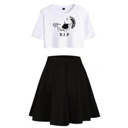 2019 taille plus jupe deux pièces Deux pièces ensembles Nipsey Hussle femmes Sexy Print d'été jupe courte et T-shirts 2019 vente chaude Hip Hop Kpop Imprimer Plus Size Set taille plus jupe deux pièces pas cher