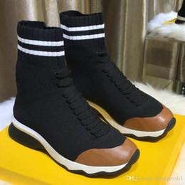 botas de tejido elástico para mujer Rebajas Estiramiento de punto Tela zapatillas de deporte zapatos para mujer de cuero de lujo de Italia lujo de la manera de mitad de la parte superior del calcetín botas de la zapatilla de deporte Mujer del calcetín del estilo de la zapatilla de deporte con la caja