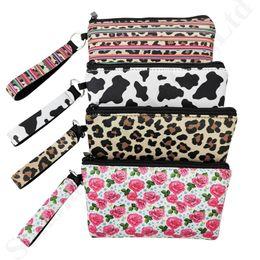 2019 carteiras leopardo para mulheres Neoprene Coin Pures Zip carteiras de cartão de crédito sacos de armazenamento Mulheres Wristlet cluth Pouch Rose Leopard Totes Moneybag Bolsa mudança do bolso C82302 carteiras leopardo para mulheres barato