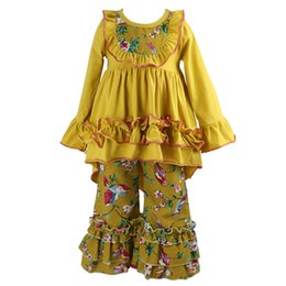 1b3cf87b2a01 Girls Clothes Outfit Kids Ruffle Shirts Dress Boutique Bell Pants Set  Toddler 2 Pc Hi Lo Ruffle Flare Tunic Top Flare Pant Sets