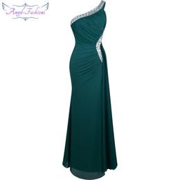 Платье ангела онлайн-Angel Fashion бисером на одно плечо Серебряный прилив вечернее платье Vestido De Noiva411 Зеленый SH190629