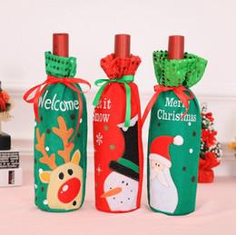 Cena de navidad decoraciones de fiesta online-Botella de vino de Navidad Bolsas Papá Noel Vino champán Cubierta Regalos Bolsa Adornos de Navidad Nueva cena de Navidad Decoración de mesa