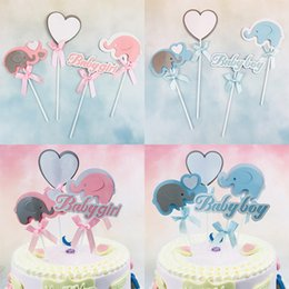 Elefante para baby shower online-4 Unids / set Baby Boy Baby Shower Elefante Para Niñas Feliz Cumpleaños Cake Toppers Wedding Party Decoration Supplies Cake Decoration