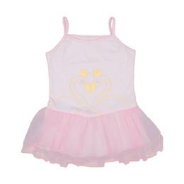 2019 vestidos de cisne Roupas de bebê Meninas Vestidos Sweet Sling Princesa dos desenhos animados Vestido Coroa Swan Ouro Grão Imprimir Malha 1 vestidos de cisne barato