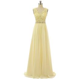 Vestidos de noche de gasa amarilla Largos 2019 Apliques de encaje Vestidos de baile Cintura moldeada Vestido formal Longitud del piso desde fabricantes