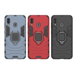 Couvertures robustes en Ligne-Titulaire de la bague Kickstand Cover Case Armor robuste double couche pour Samsung Galaxy S10 S10E S10 PLUS A30 A50 A40 A60 M10 M20 M30 A8S 50pcs