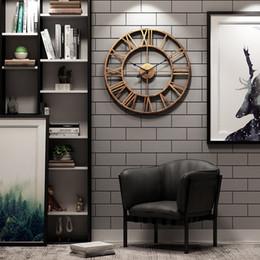 Orologio digitale romano online-Nordic Roman Digital Creativo Retro Orologio 3D Orologio da parete Design moderno Cafe Bar Quarzo silenzioso Grande giro sul muro