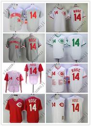 Camisas dropshipping online-¡haga la venta al por mayor vendedor caliente barato al por mayor de Jerseys rojo de los jerseys 14 # ROSE Blanco verde camisa roja de los jerseys del béisbol cosido de calidad superior!