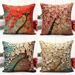 7216d5c03e2 Floral Pillow Case Cushion Flower Tree Design Cover Cotton Linen Flower  Pillowcase Waist Back Throw Home Colorful Home textile