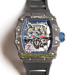 Relojes deportivos de color para hombre online-16 colores RM35-02 Skeleton Dial NTPT Todo patrón de fibra de carbono Japón NH RM automático RM 35-02 Reloj para hombre Correa de caucho negro Relojes deportivos
