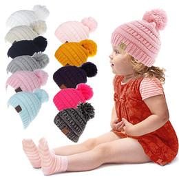 d3c661607d46a Kids winter hats warm fashion CC beanies knitwear hair ball needlework hat  cute head hat CC beanies 11 styles