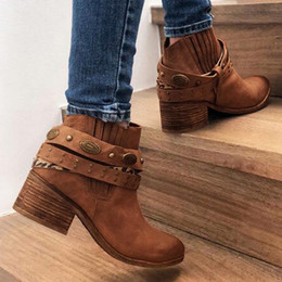 zapatos cowboy Promo Codes - Rivet Strap Belt Zip Square Med Heels Shoes Women Retro Roman Slip On Suede Short Ankle Cowboy Ladies Booties Zapatos De Mujer