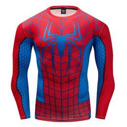 Spinnenmann polyesterhemd online-Neue Sport Spider Man T-Shirt Langarm schnell trocken Laufbekleidung Fitness Tops Engen Sport Herren T-Shirt