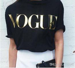 Kadınlar için bahar Yeni Moda t shirt t-shirt altın VOGUE mektup kadın Kısa Kollu Ekip Boyun grafik tees Casual Womens tops nereden