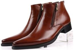 Vestidos azul bronceado online-Botas de gran tamaño EUR46 negro / marrón bronceado / azul cremallera para hombre botines de negocios de cuero genuino zapatos de vestir masculinos