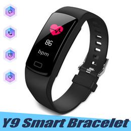 rastreador de paquetes Rebajas Y9 pulsera inteligente ritmo cardíaco rastreador de fitness Wirstband podómetro monitor de presión arterial para IOS Android con paquete al por menor