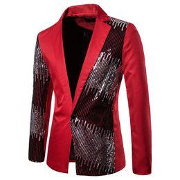 2019 trajes azul real corbata roja 2019 Hombres brillante de lentejuelas Blazer Jacket Coats boda casual para hombre del partido Blazers otoño ocasionales adelgazan la manga larga de la chaqueta del juego Red