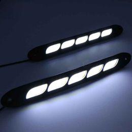 Luces de tira llevadas de la mazorca online-260mm Coche LED flexible DRL Luz diurna 5 COB LED Lámpara de tira Luz de señal de giro Universal