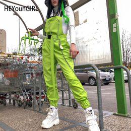 Koreanische grüne hose online-Heyoungirl Harajuku Korean Womens Overalls Hose Neon Green Cotton Pants Capri Hose mit hoher Taille und Kettentasche Streetwear MX190716