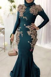 embelleció los vestidos largos moldeados de la manga Rebajas 2019 Nuevos musulmanes mangas largas satén sirena vestidos de noche 3D de encaje floral con cuentas del tren de barrido más tamaño fiesta de baile vestidos