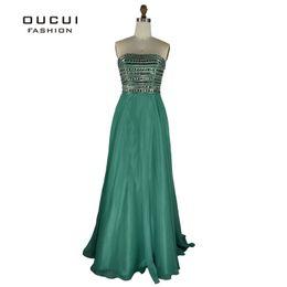 Rebordear vestido de fiesta verde esmeralda online-Emerald verde abalorios blusa de lentejuelas vestidos largos de baile 2019 cariño encantadora una línea de gasa vestido de fiesta Robe Soiree OL102295