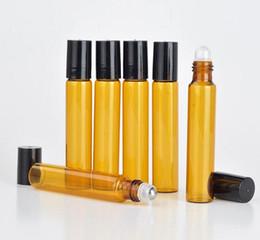 oz contenitori all'ingrosso Sconti HOt vendita 1200pcs / lot 10ml Ambra Glass Roll On Bottle con bottiglie di profumo in acciaio inossidabile Roller Oils Essential Brown