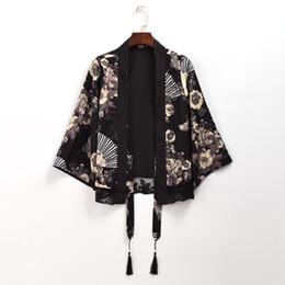 2019 japanischer graben Frauen Vintage japanische Schwarz Chiffon Trench Crane Fan Print Short / Long Cardigan Outwear rabatt japanischer graben