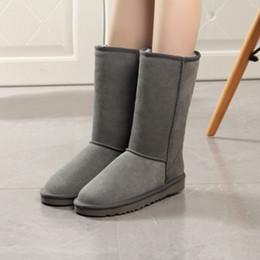 botas de becerro de piel de invierno Rebajas Botas de invierno para mujer Botas de invierno de piel genuina de media pierna Botas de piel de felpa de alta calidad superior Botas planas de invierno para las mujeres Botas calientes Mujer