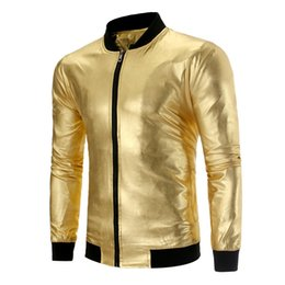 Argentina Mens recubierto Metallic Gold Silver Jackets 2019 primavera otoño moda masculina collar del abrigo de los hombres del club nocturno desgaste Outwear brillante cheap shiny silver club wear Suministro