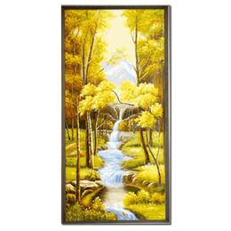 Дерево онлайн-55x118cm Большой Льняной никогда не увядает дерево Diy цифровой живописи стены искусства Современные ручной росписью маслом
