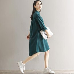 12316c18ff 2019 New Fashion Plus Size Maxi Cotton Dress Turn-down Collar Button Hi Low  Hem Long Sleeves Robe Loose Casual Dress Green Black