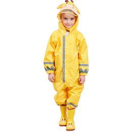 Gelbe regenmantel kinder online-Kocotree Kinder Gelb Giraffe Regenmantel Kinder Overall Regenbekleidung Regenschutz Für Jungen Mädchen Wasserdichte Kleidung Sets Kinder Y190518