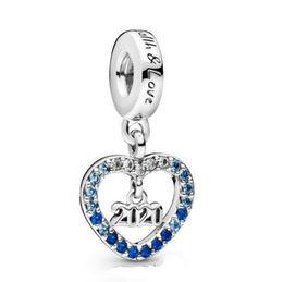 2019 charmes scintillants Véritable argent 925 Charm Vintage 2020 Nouvel An Charm Dangle perles Fit femmes Pandora Bracelet de bijoux Collier