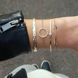 2019 kreisförmiges armband Neue Art- und Weisekristallarmband-Frauen-Kreispfeil ist konkaver und konvexer Armband-Armband-Kombination vier Großverkauf günstig kreisförmiges armband