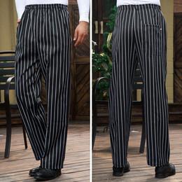 Restaurant kellner uniformen online-Smart Casual Men Pants Restaurant Cook Chef Waiter Trousers Vertical Striped Pants Gray Trousers Restaurant Uniform Long