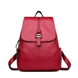 Сумки для девочек для ноутбука онлайн-WESTCREEK  High Quality PU Leather Backpack Women College Bag for Girls Laptop Travel Daypack Casual Anti-theft Back Pack
