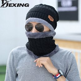 Теплый мех для шеи для мужчин онлайн-Neck warmer cap scarf set fur Wool velvet Thick Warm Knitted beanies balaclava Winter beanies For men women Skullies bonnet