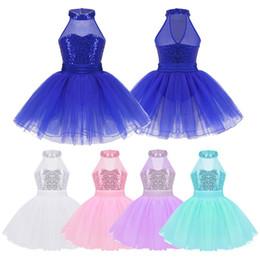 fata danza tutu Sconti Bambini Fairy Party Dancewear Senza maniche Maglia con paillettes Paillettes Balletto Danza Ginnastica Body per ragazze Tutu Vestito da ballerina Costumi