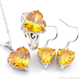 Conjunto de joyas de topacio amarillo online-Uphot Luckyshine Mix 3 piezas / compromiso lote determinado de la joyería del corazón amarillo del Topaz Cubic Zirconia Gems 925 del pendiente del anillo Conjunto collar de los colgantes de plata