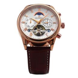 Relógios do ouyawei on-line-OUYAWEI 2019 Mens Relógios Top Marca de Luxo Rose Gold Masculino Relógio de Fase da Lua Mecânica Automática Relógio de Pulso Relogio masculino